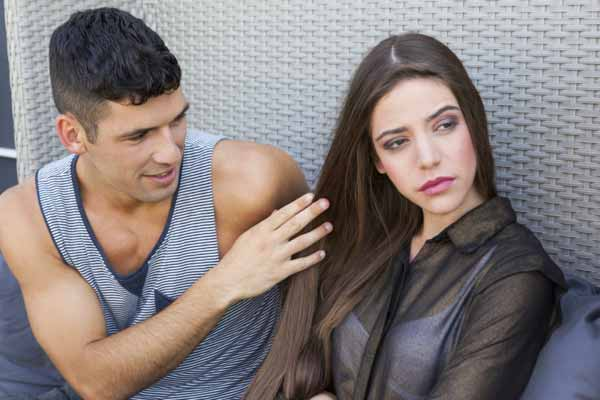 Young woman angry at boyfriend