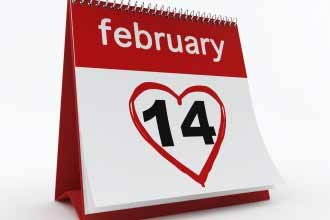 Calendar is open on Valentine's date