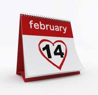Calendar is open on Valentine's date