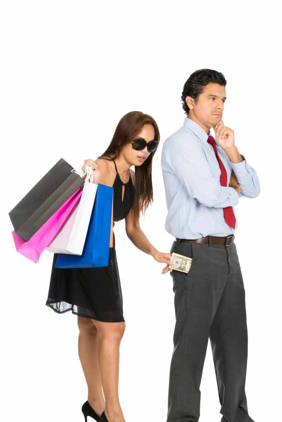 A beautiful shopaholic wife secretly robs money from husband pants pocket