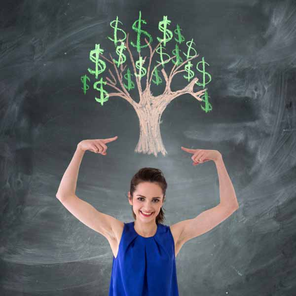Happy woman botherd with money matters