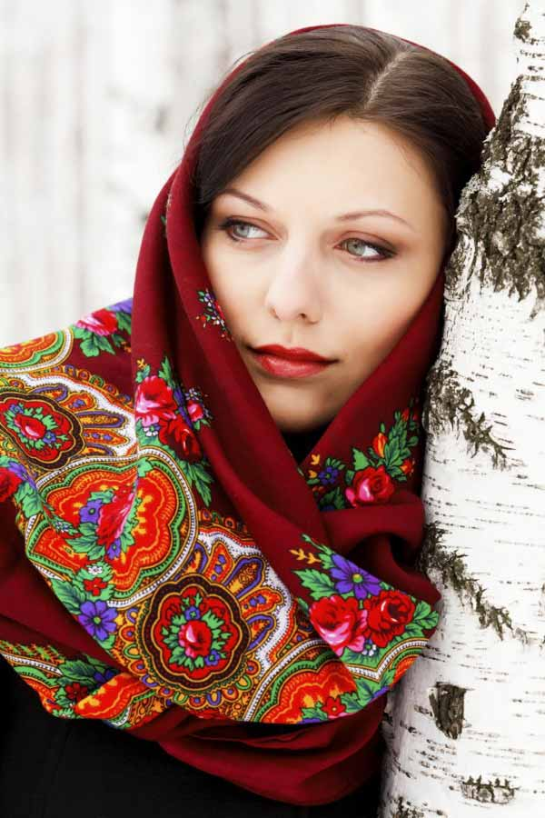 Beautiful Russian woman in national head cover