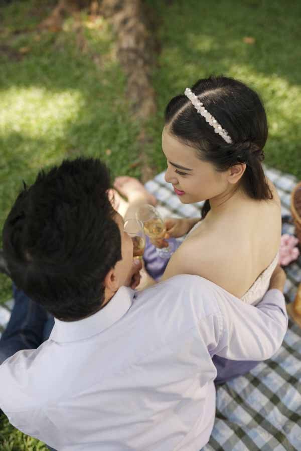 Young couple toasting at the picnic