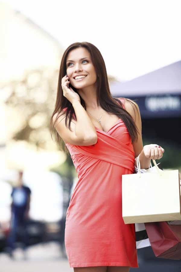 Happy Ukrainian woman shopping