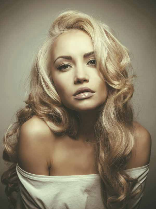 Beautiful Russian Woman with magnificent blond hair.