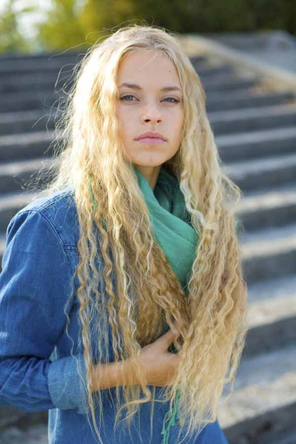 stylish and beautiful Ukrainian young lady outdoors