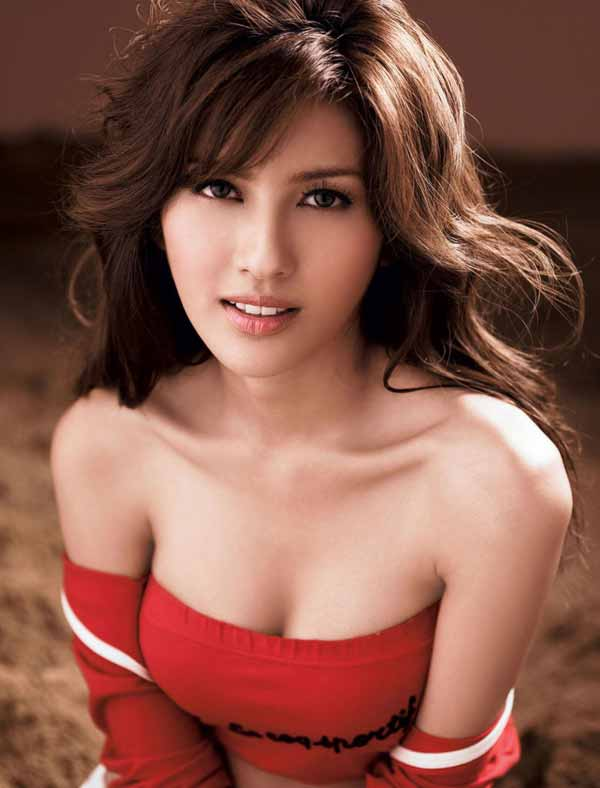 Sexy and beautiful Thai woman in red dress