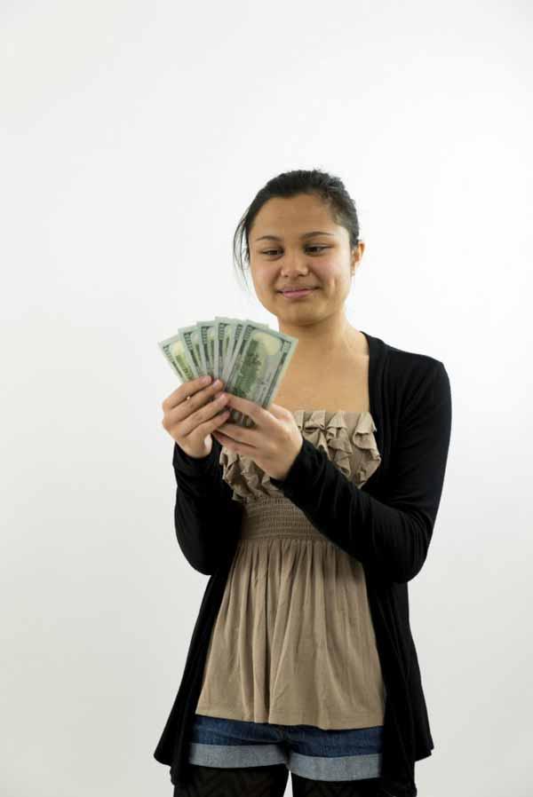 Filipino Scammer holding money