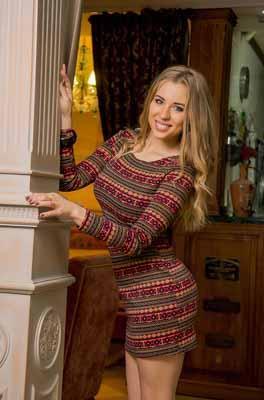 Smiling beautiful Russian blonde lady