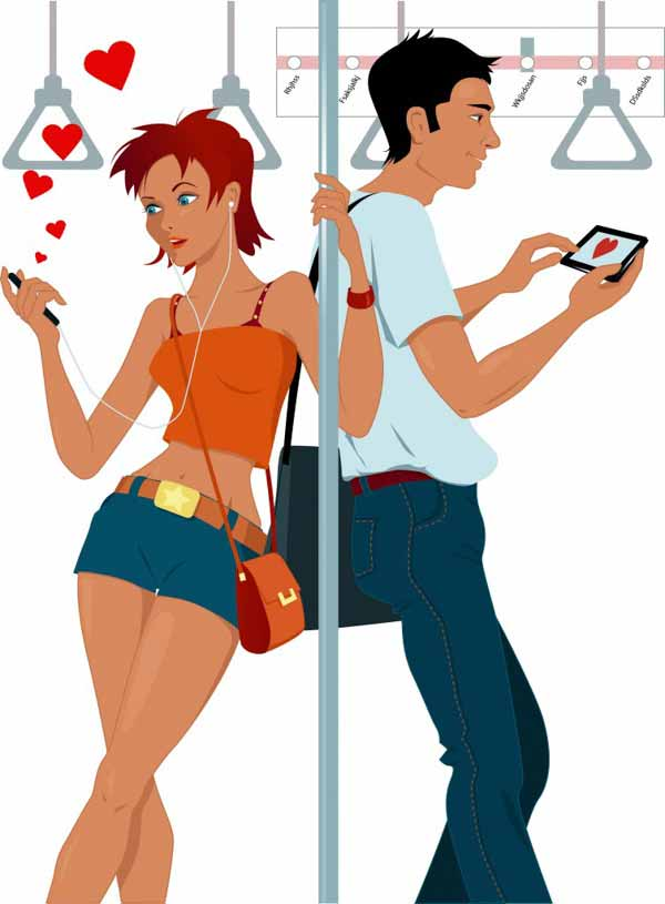 a couple in a subway sexting