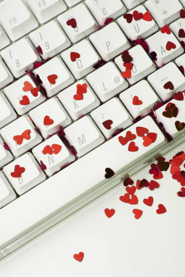 Red Hearts laying on the Keyboard