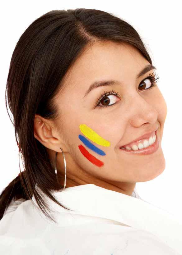 casual colombian woman face smiling portrait
