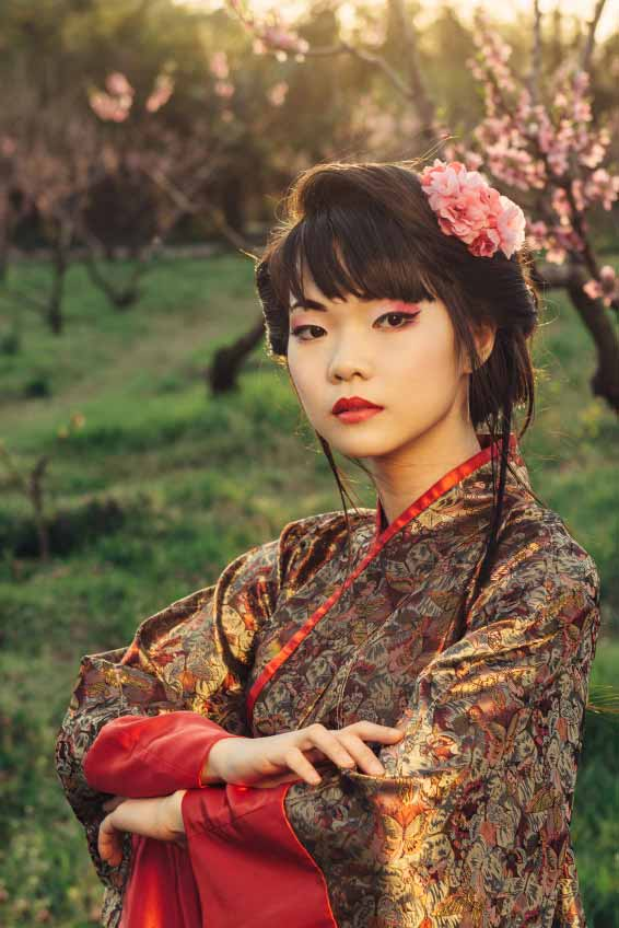 Asian style portrait of young woman