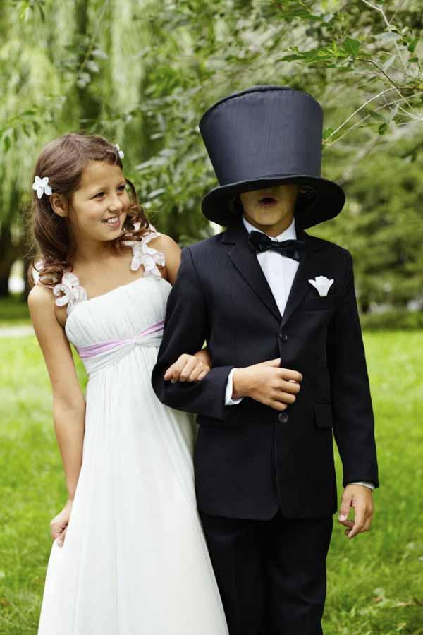 children bride and groom on wedding