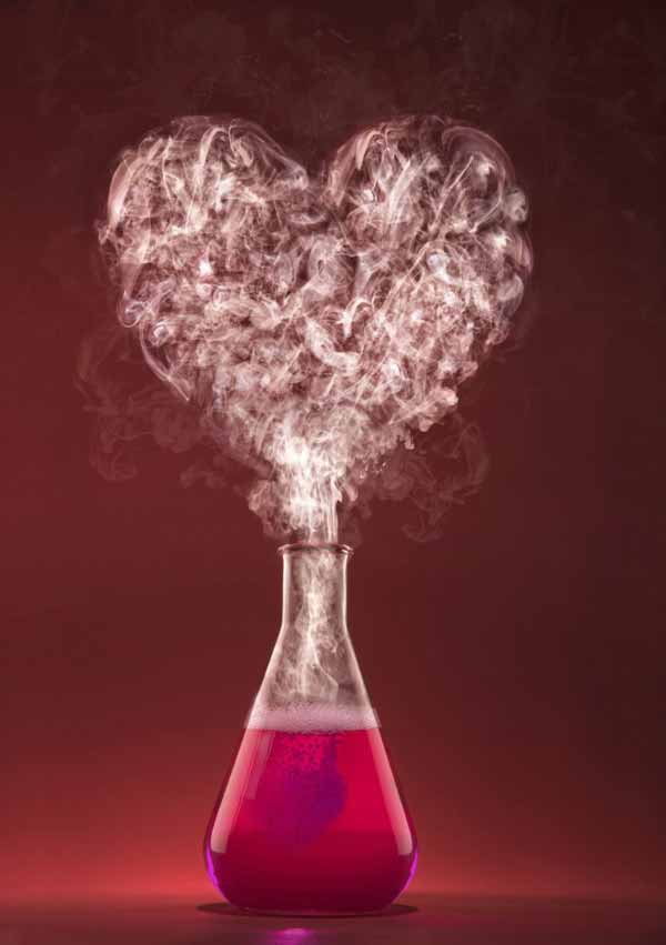 Science experiment with heart shape smoke.