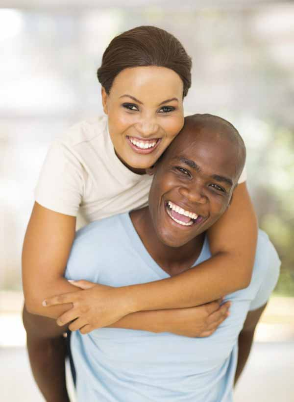 cheerful young african american couple