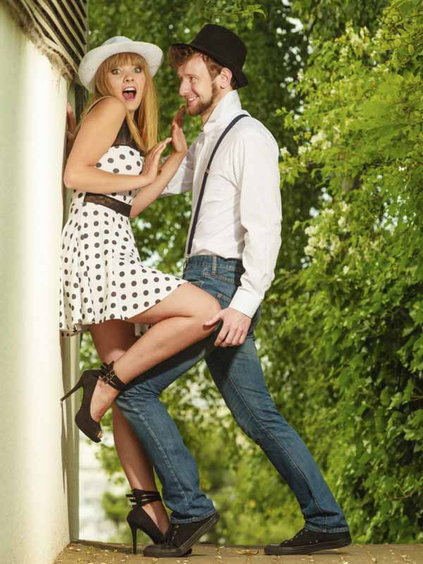couple retro style flirting outdoor
