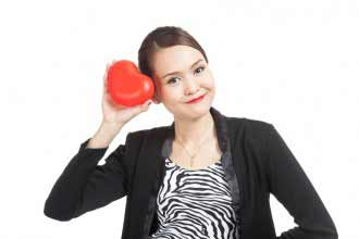 Asian business woman with red heart