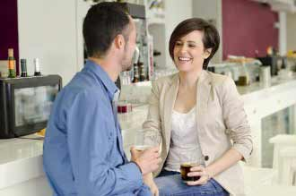 Couple dating in bar