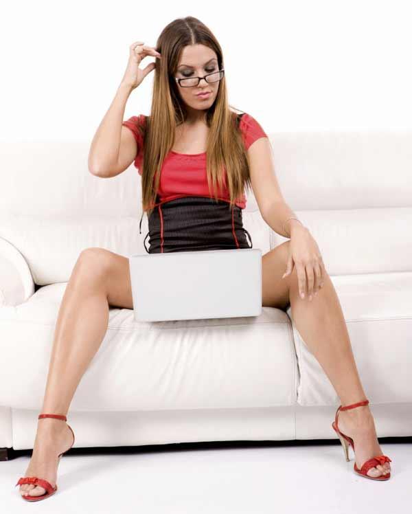 Beautiful young woman  using laptop