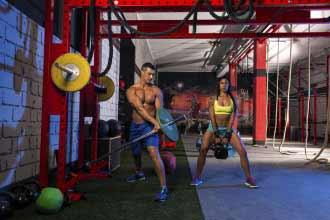 woman and man at gym