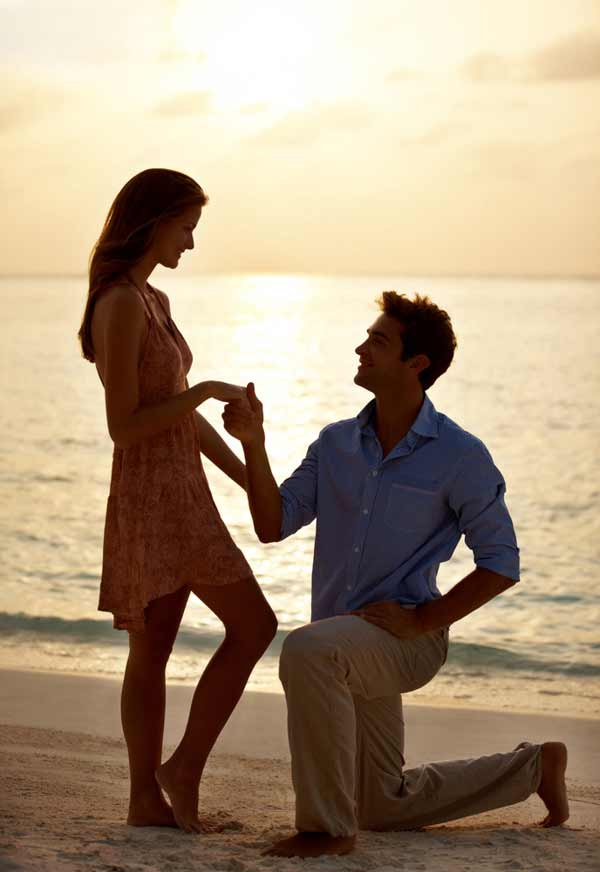proposal at sunset