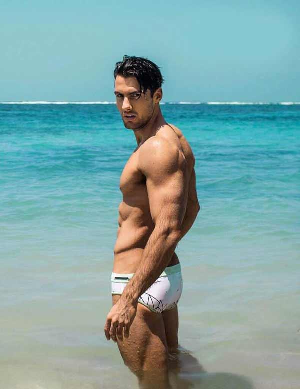 handsome Australian male model at the sea