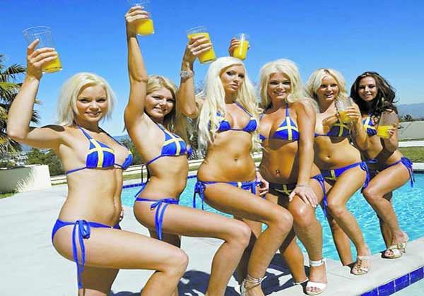 Young Swedish women in bikini