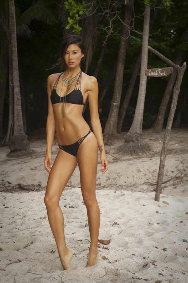 Long-legged beautiful woman in black bikini