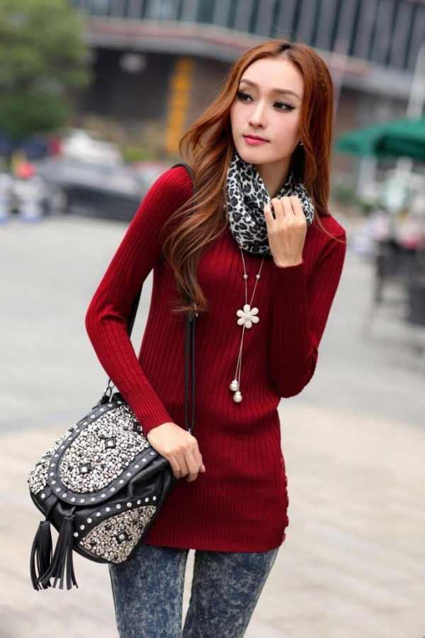 a beautiful Korean girl  in the street