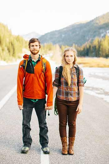 a couple on a road