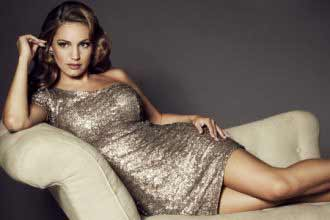 Kelly Brook in silver dress