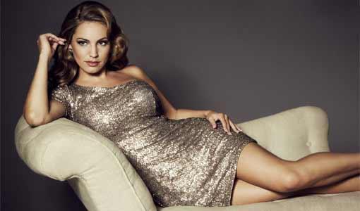 Kelly Brook in silver dress