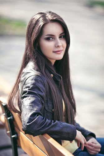 a young Ukrainian girl with long dark hair