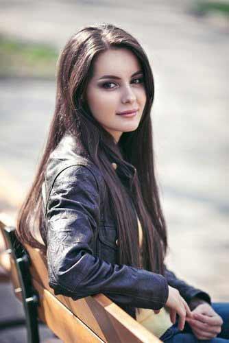 a young Ukrainian girl with long dark hair