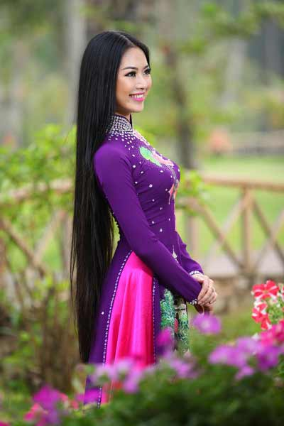 gorgeous Hanoi girl in a national dress