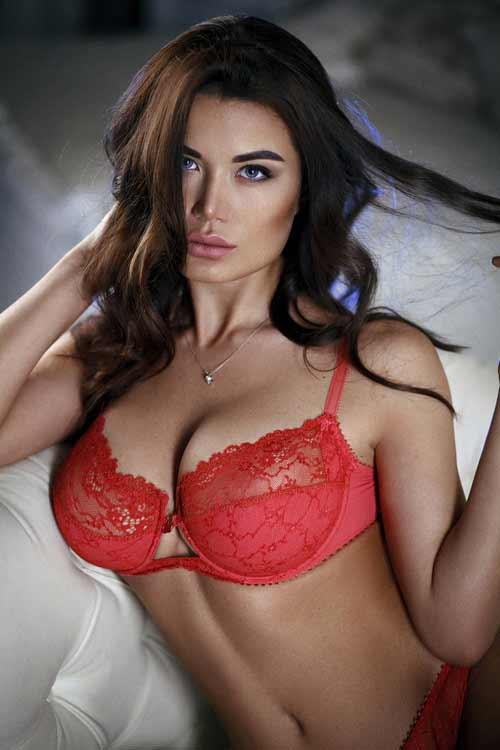 a hot Russian brunette in red