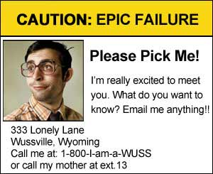 on-line dating profile failure