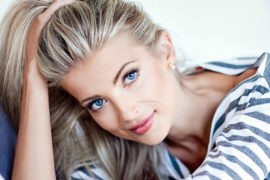 a beautiful Russian blond lady with blue eyes
