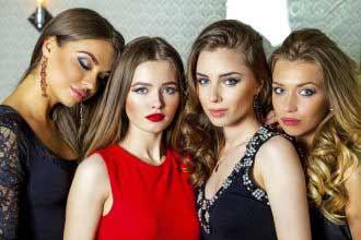 glamorous Russian models in studio