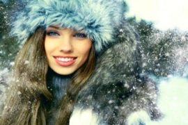 a beautifu Russian woman in winter time