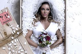 a bride in a parcel box
