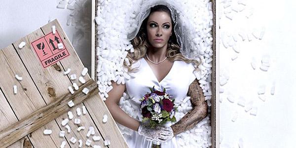 a bride in a parcel box
