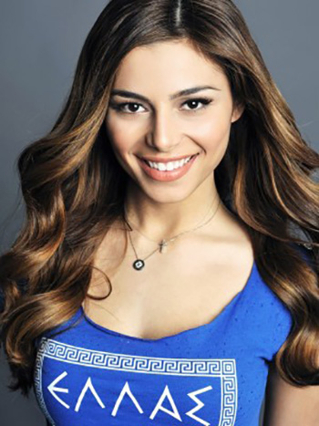 a beautiful smiling Greek girl with curly hair i
