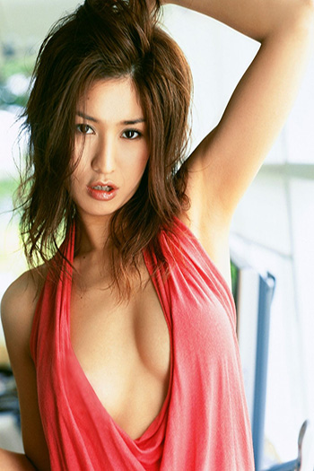 a hot Singapore girl in a coral dress