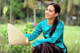 a Vietnamese woman in national costume