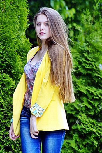 single Russian woman with long light brown hair