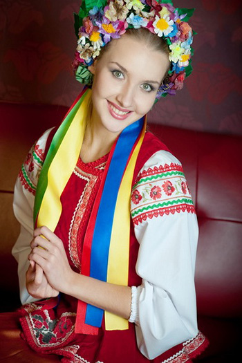 a beautiful Ukrainian woman in traditional clothes