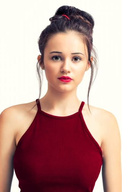 Young woman in red