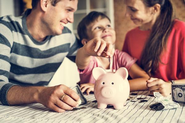 happy couple take money